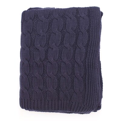 Big Cable 100% Cotton Throw Color: Navy