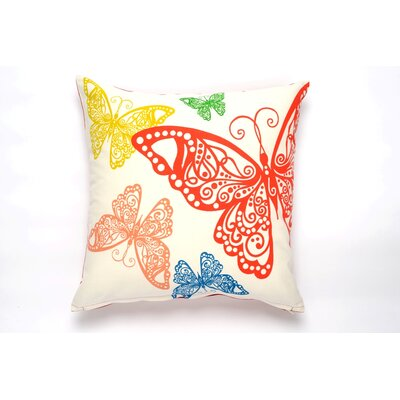 Butterfly Rabble Cotton Pillow Cover Color: Red