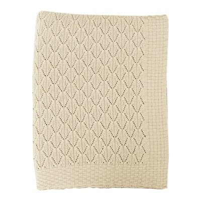 Pointelle Cotton Throw Color: Pale Whisper