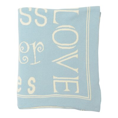 Word Cotton Throw Color: Sea Blue / Natural