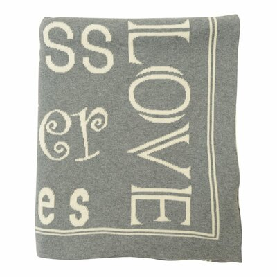 Word Cotton Throw Color: Medium Gray Melange / Natural