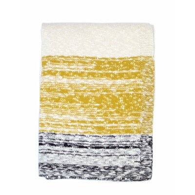 Thick and Thin Stripe Cotton Throw Color: Natural / Charcoal And Mustard
