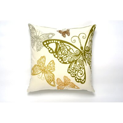Butterfly Rabble Cotton Pillow Cover Color: Olive