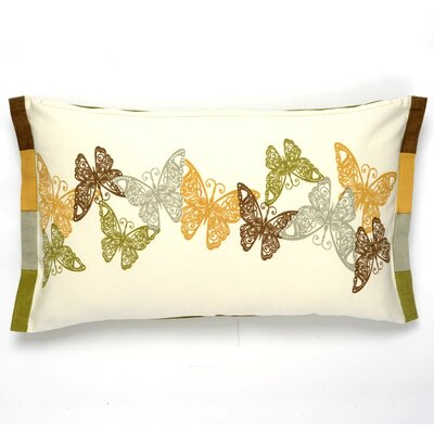 Butterfly Cotton Pillow Cover Color: Olive