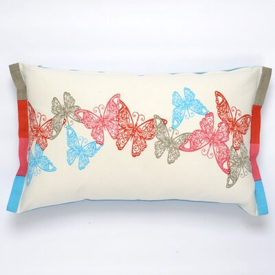 Butterfly Cotton Pillow Cover Color: Red