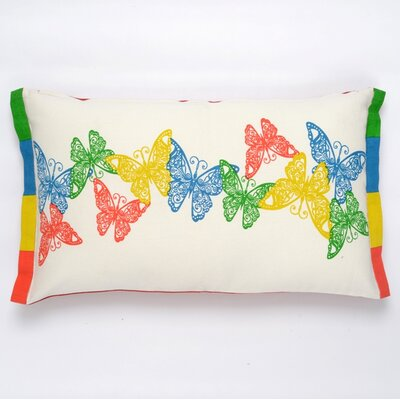 Butterfly Cotton Pillow Cover Color: Turquoise