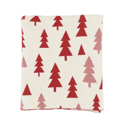 Pine Tree 100% Combed Cotton Throw Color: Red / Natural