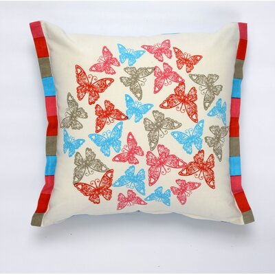 Butterfly Flutter Cotton Pillow Cover Color: Red