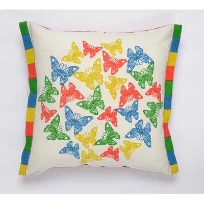 Butterfly Flutter Cotton Pillow Cover Color: Turquoise