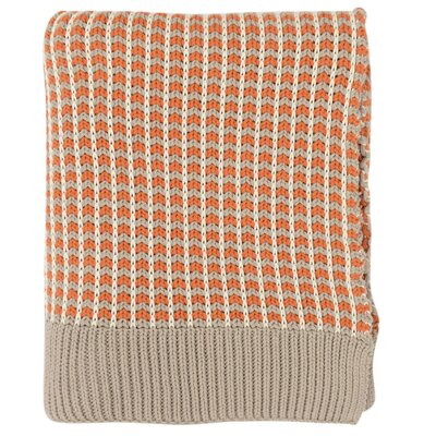 Alysa 100% Cotton Throw Color: Orange/Natural/Stone