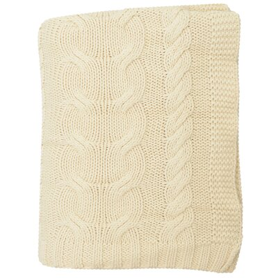 Chunky Braid 100% Cotton Throw Color: Natural