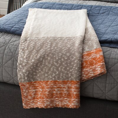 Thick and Thin Stripe Cotton Throw Color: Orange / Natural And Stone