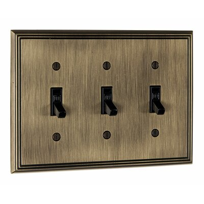 Triple Toggle Switch Plate Finish: Antique English
