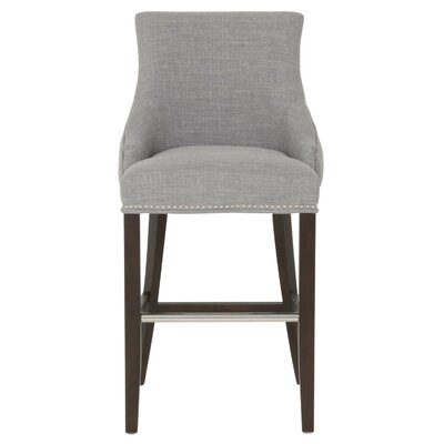 Carnaff 30 Bar Stool Finish: Espresso, Upholstery: Gray