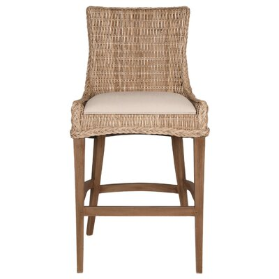 Caryville 30 Bar Stool (Set of 2) Finish: Gray/Saddle Brown, Upholstery: Light Gray