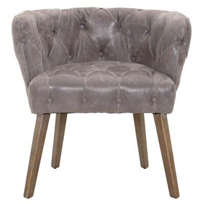 Claude Transitional Genuine Leather Upholstered Dining Chair Upholstery: Pewter
