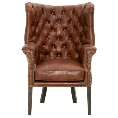 Patina Hughes Wing back Chair Upholstery: Chestnut