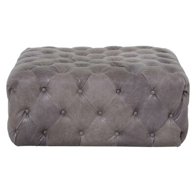Claude Traditional Leather Ottoman Upholstery: Pewter