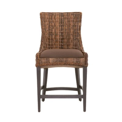 Greco 26 Bar Stool with Cushion (Set of 2) Finish: Espresso, Upholstery: Brown