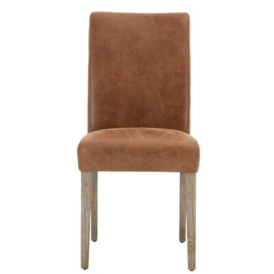 Lattice Genuine Leather Upholstered Dining Chair (Set of 2) Upholstery: Chestnut
