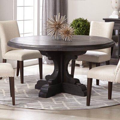 Dancy Round Wood Dining Table Base Finish : Black Wash, Top Finish: Light Gray