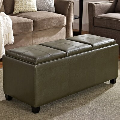 Simpli Home Avalon Rectangular Storage Ottoman with 3 Serving Trays - Color: Deep Olive Green