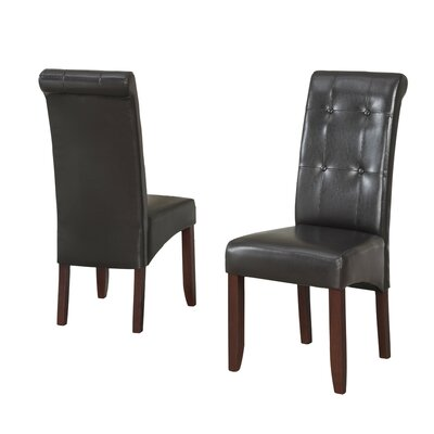 Cosmopolitan Upholstered Dining Chair Upholstery Color: Dark Brown