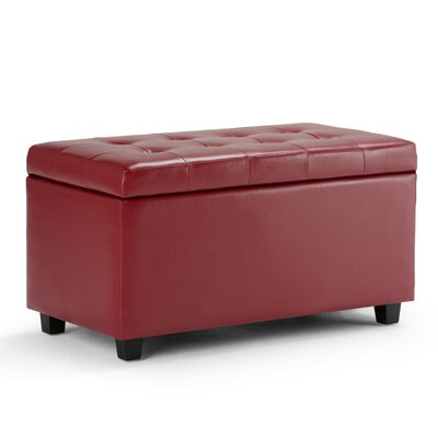 Cosmopolitan Rectangular Storage Ottoman Upholstery: Red