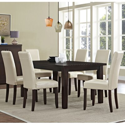 Acadian 7 Piece Dining Set Chair Finish: Satin Cream
