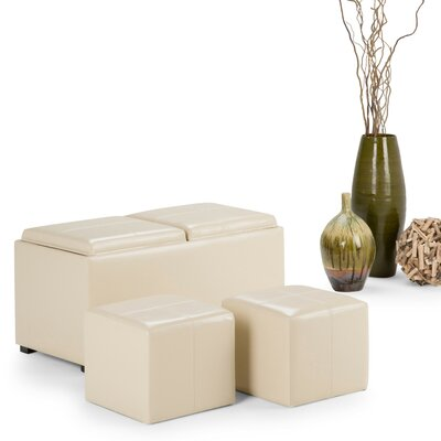 Avalon 5 Piece Storage Ottoman Set Upholstery: Satin Cream