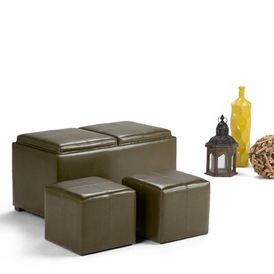 Avalon 5 Piece Rectangular Storage Ottoman Set Upholstery: Faux Leather/Deep Olive Green