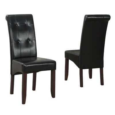 Cosmopolitan Parsons Chair Upholstery: Faux Leather - Midnight Black