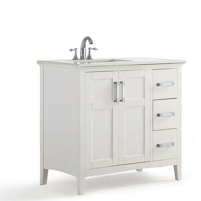 Winston Left Offset 37 Single Bathroom Vanity with Quartz Marble Top