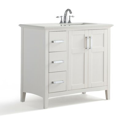 Winston Right Offset 37 Single Bathroom Vanity with Quartz Marble Top