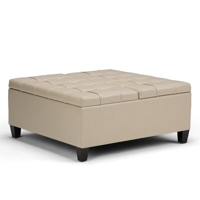 Harrison Coffee Table Storage Ottoman Upholstery: Satin Cream
