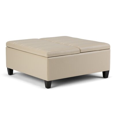 Ellis Coffee Table Storage Ottoman Upholstery: Satin Cream