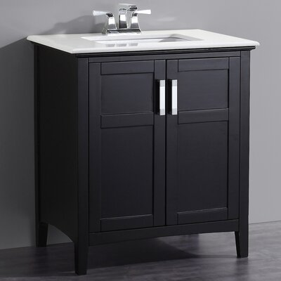 Winston 31 Single Bathroom Vanity Set with Mirror Base Finish: Black