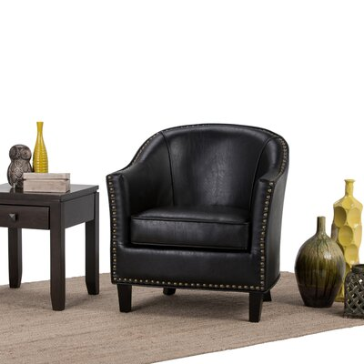 Kildare Barrel Chair Upholstery: Distressed Black