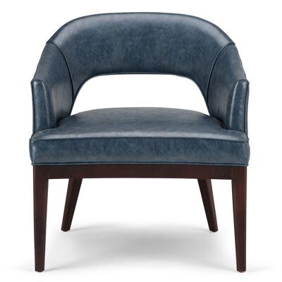 Mallory Arm Chair Upholstery Color: Denim Blue Leather