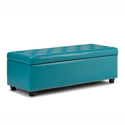 Hamilton Upholstered Storage Leather Ottoman Upholstery Color: Mediterranean Blue