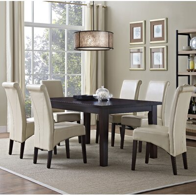 Avalon 7 Piece Dining Set Chair Finish: Satin Cream