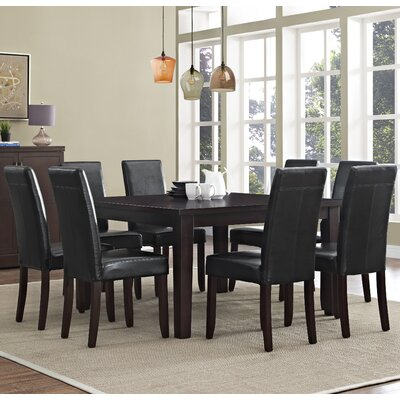 Acadian 9 Piece Dining Set Chair Finish: Midnight Black