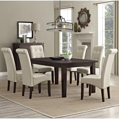 Cosmopolitan 7 Piece Dining Set Chair Finish: Satin Cream