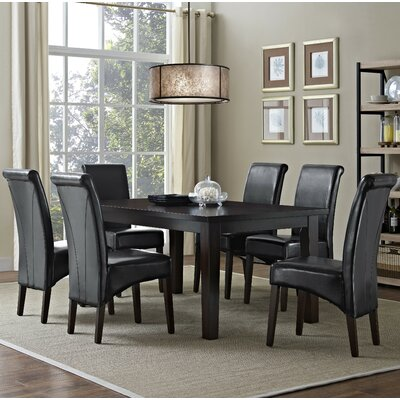 Avalon 7 Piece Dining Set Chair Finish: Midnight Black