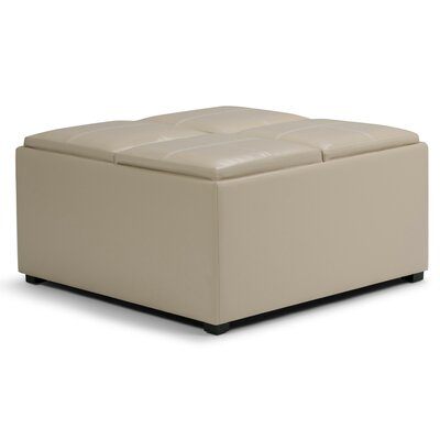 Avalon Coffee Table Storage Ottoman Upholstery: Satin Cream