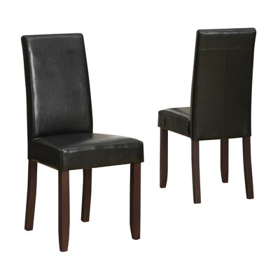 Acadian Parson Chair Upholstery: Faux Leather - Midnight Black