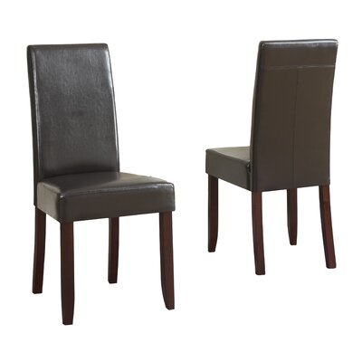 Acadian Upholstered Dining Chair Upholstery Color: Dark Brown