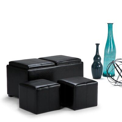 Avalon 5 Piece Rectangular Storage Ottoman Set Upholstery: Midnight Black