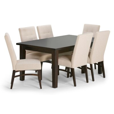 Ezra 7 Piece Dining Set Upholstery: Natural