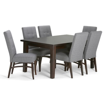 Ezra 7 Piece Dining Set Upholstery: Slate Gray